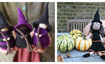 Halloween Witch Free Knitting Pattern and Paid