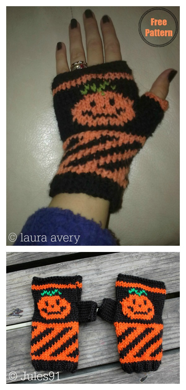 Halloween Pumpkin Fingerless Mitts Free Knitting Pattern