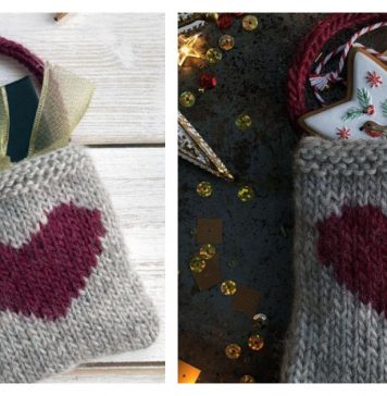 Heart Gift Bag Free Knitting Pattern