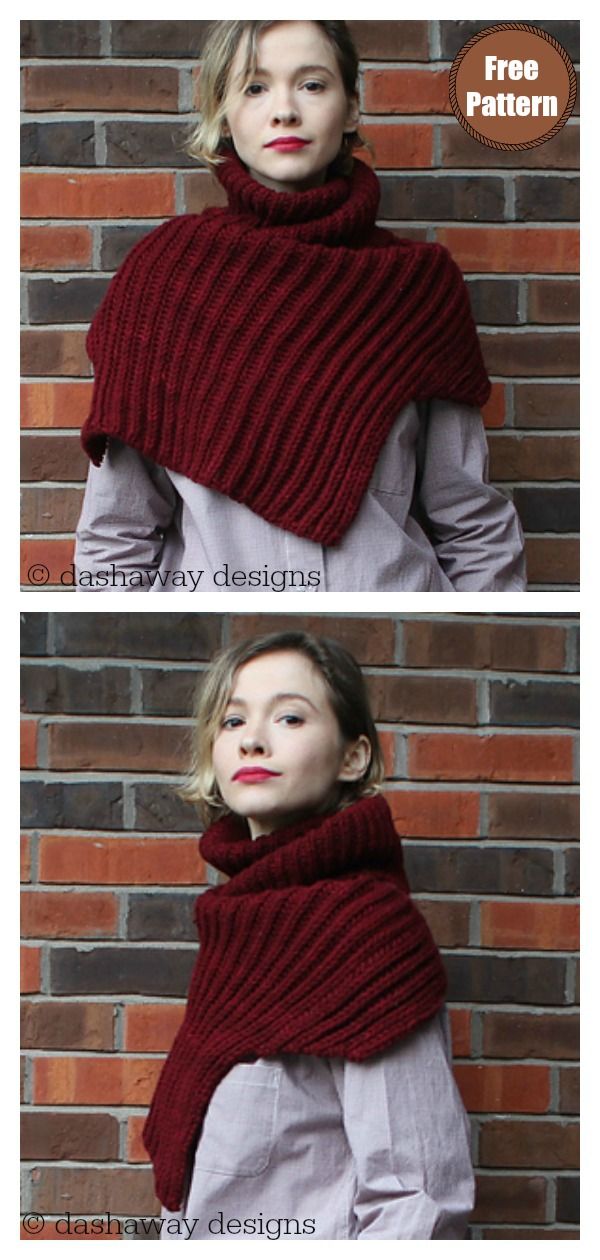 Hugge Asymmetrical Ribbed Cowl Free Knitting Pattern