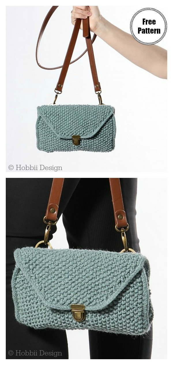 Moss Stitch Bellis Purse Free Knitting Pattern