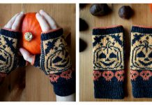 Pumpkin Fingerless Mitts Free Knitting Pattern