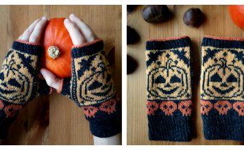 Pumpkin Fingerless Mitts Free Knitting Pattern
