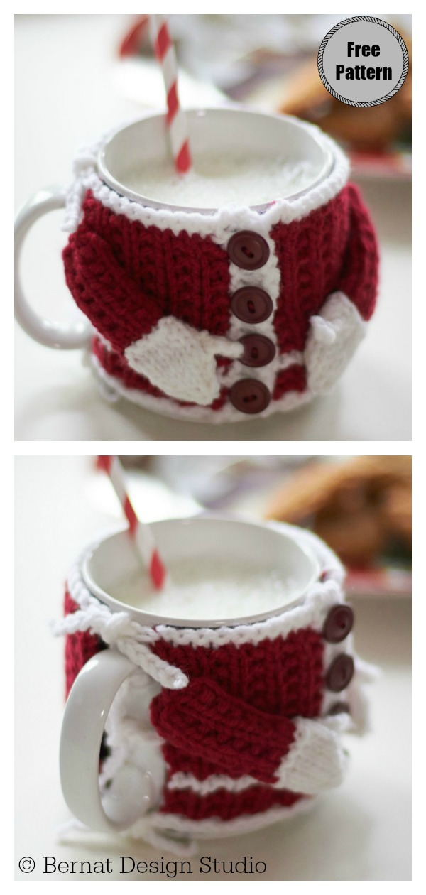 Santa's Mug Cozy Free Knitting Pattern