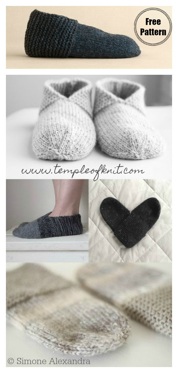 Simple House Slippers Free Knitting Pattern
