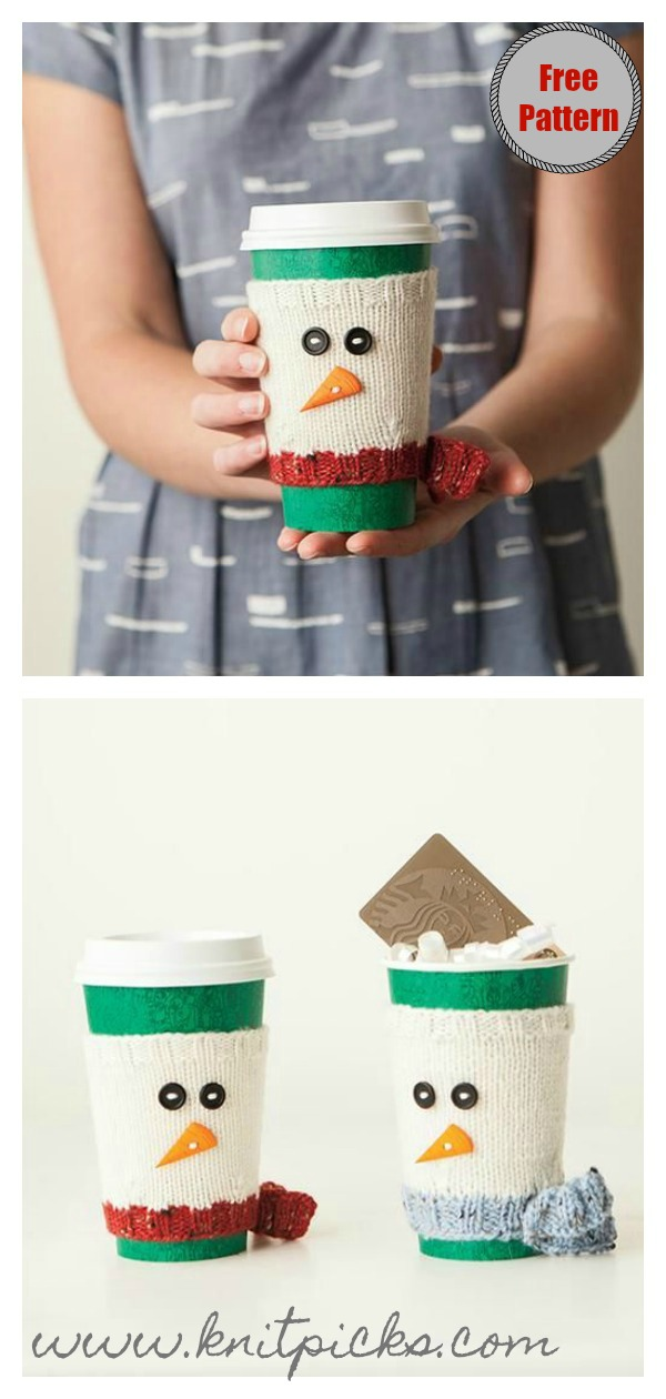 Snowman Cup Cozy Free Knitting Pattern