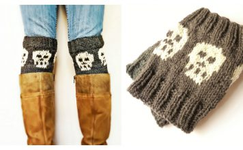 Snuggly Skull Halloween Boot Cuffs Free Knitting Pattern