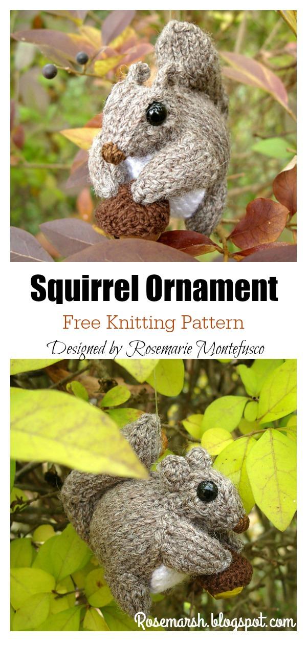 Squirrel Ornament Free Knitting Pattern