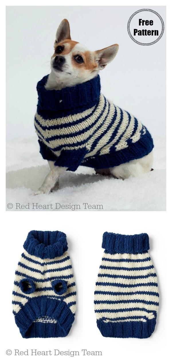 Striped Dog Coat Free Knitting Pattern