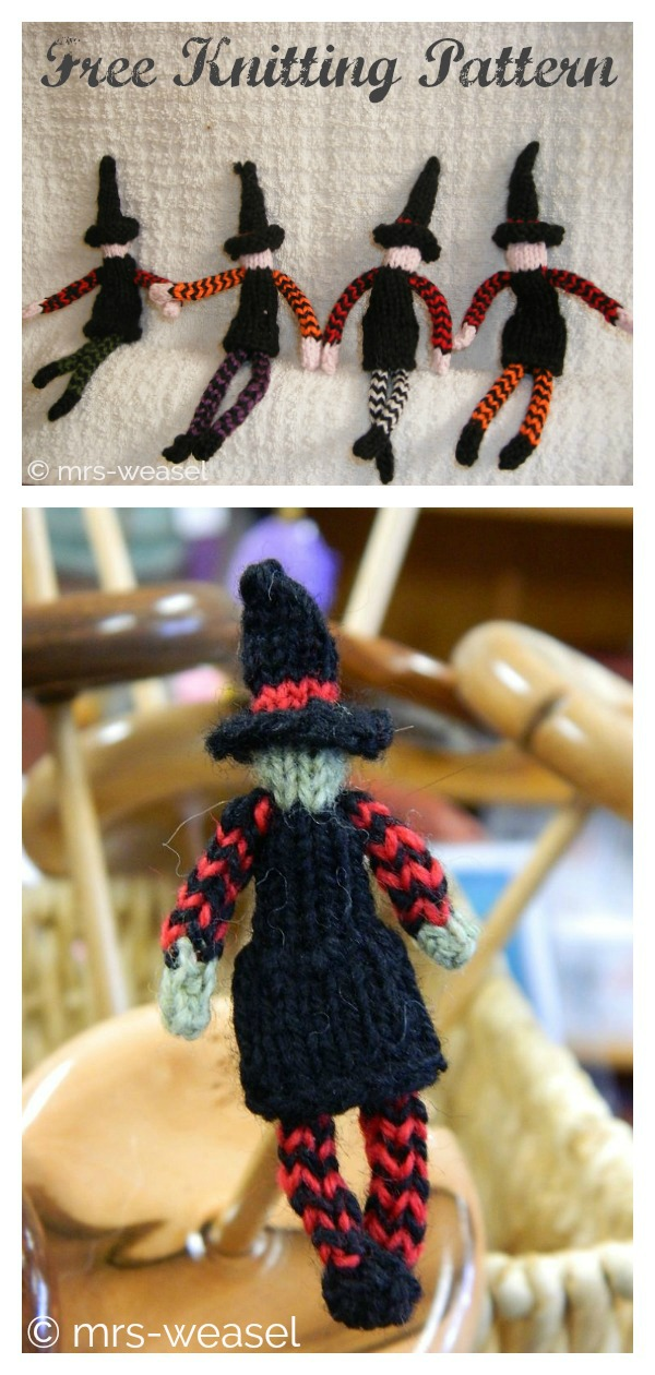 6 Halloween Witch Free Knitting Pattern and Paid