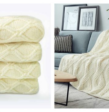 Twisted Blanket Free Knitting Pattern