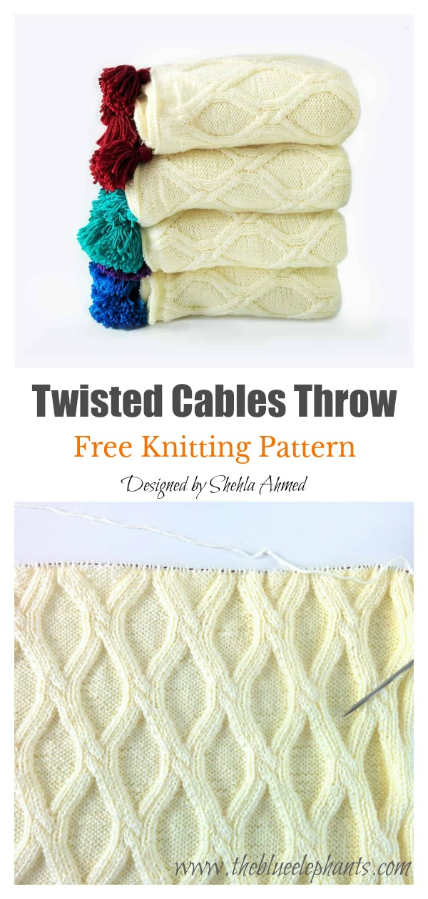 Twisted Cables Throw Free Knitting Pattern