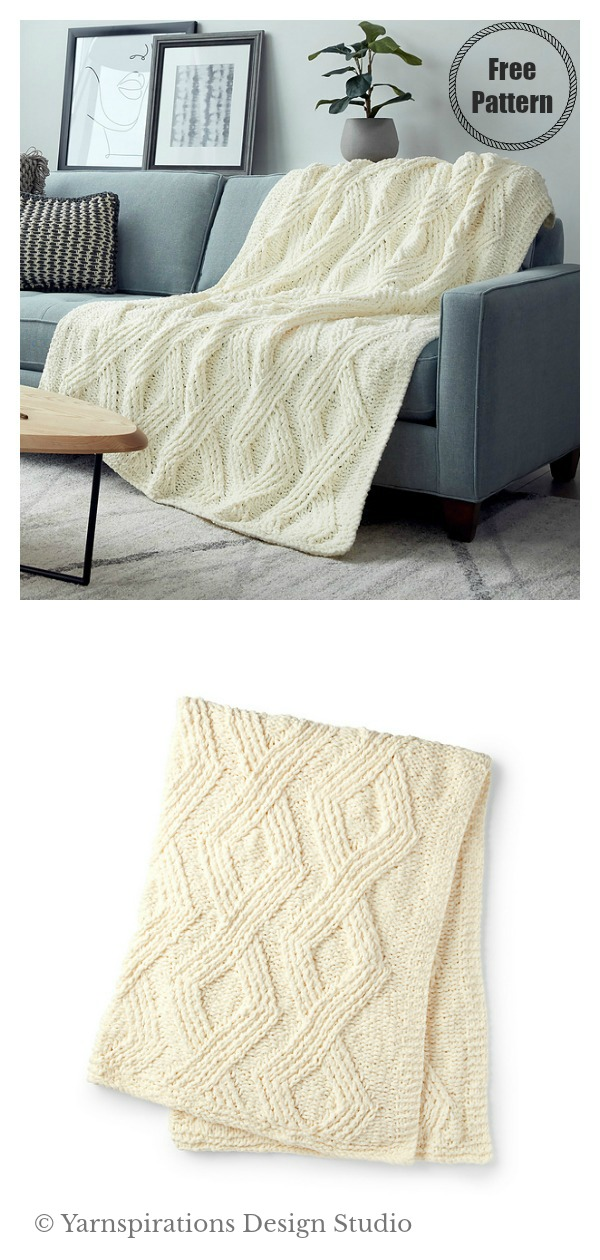 Twisted Stitch Blanket Free Knitting Pattern