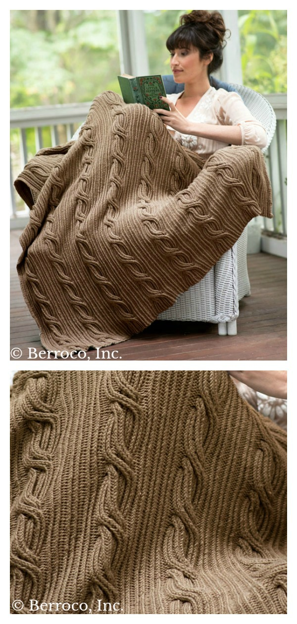 Twisted Stitches and Wide Cables Blanket Free Knitting Pattern