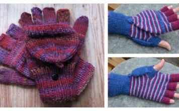 2 in 1 Fingerless Gloves & Mittens Free Knitting Pattern