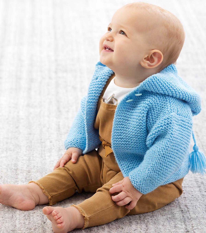 Garter Stitch Baby Hoodie Sweater Free Knitting Pattern