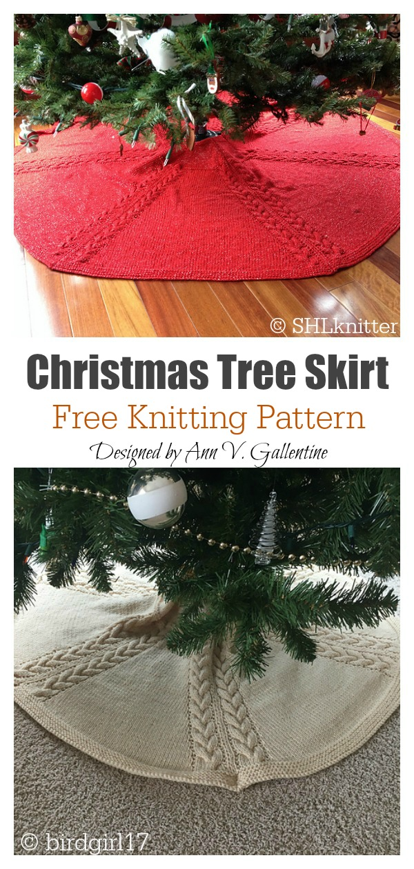 Cable Christmas Tree Skirt Free Knitting Pattern