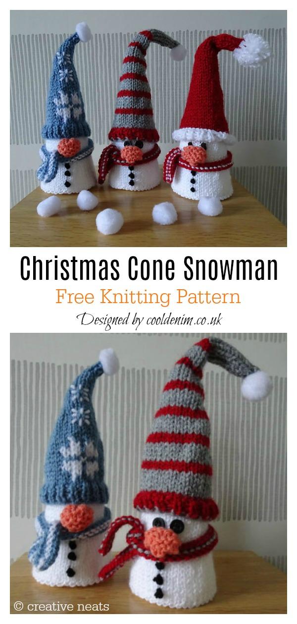 Christmas Cone Snowman Free Knitting Pattern