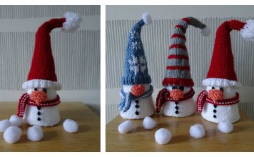 Christmas Cone Snowman Free Knitting Pattern
