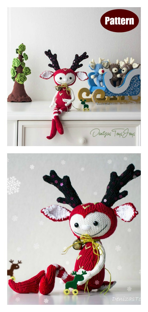 Christmas Deer Doll Knitting Pattern