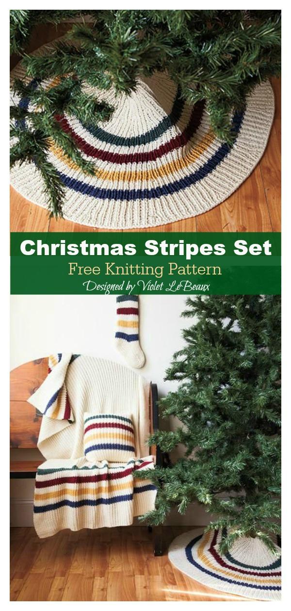 Christmas Stripes Tree Skirt Free Knitting Pattern