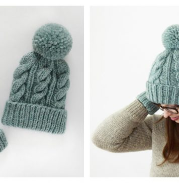 Classic Cabled Hat and Mittens Free Knitting Pattern