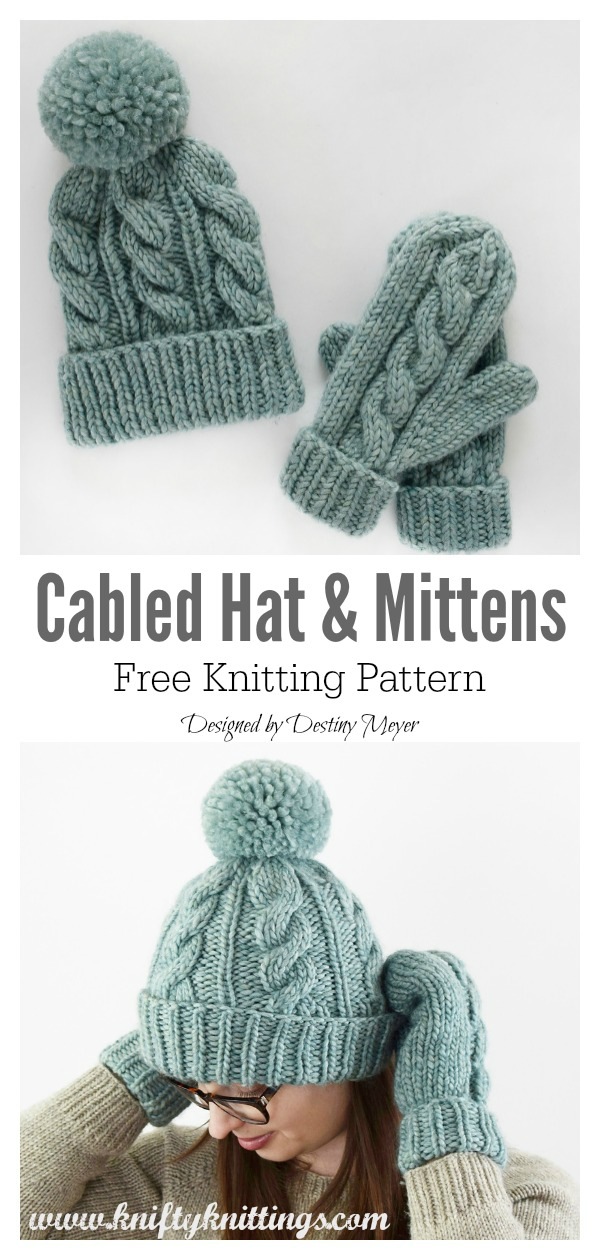Classic Cabled Hat Mittens Free Knitting Pattern