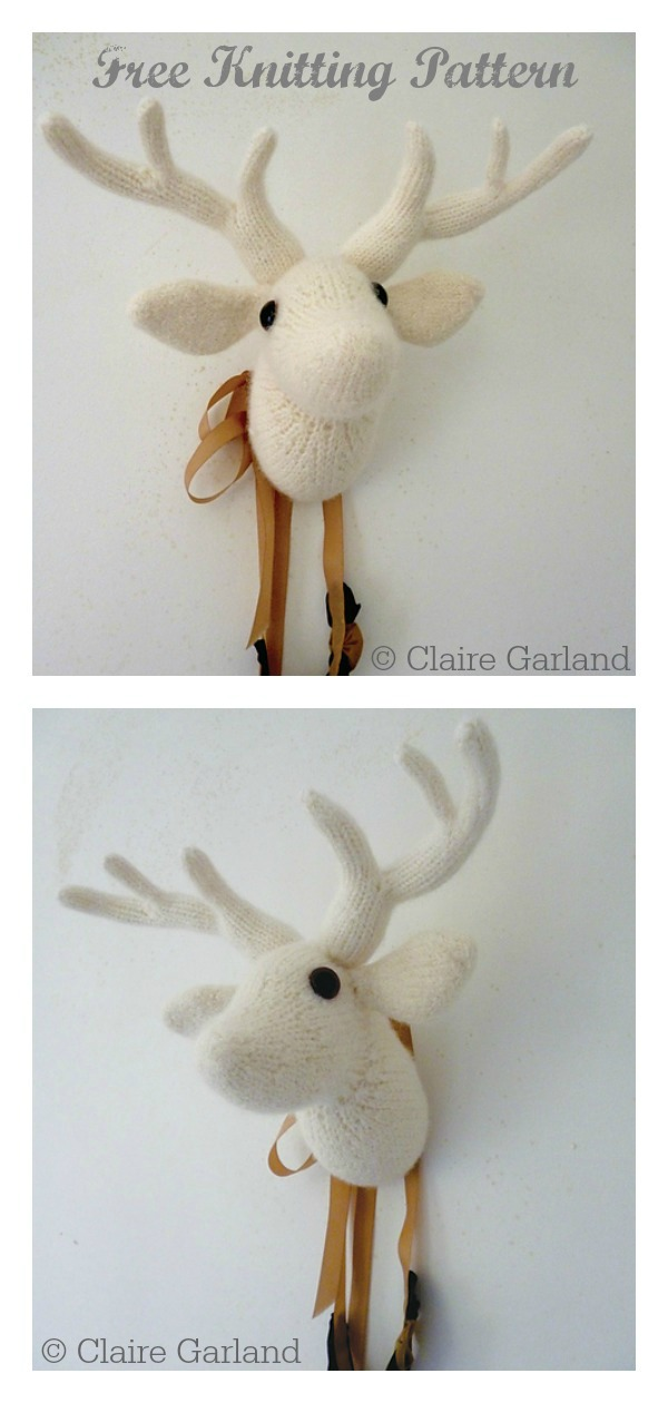 Deer Head Wall Art Free Knitting Pattern