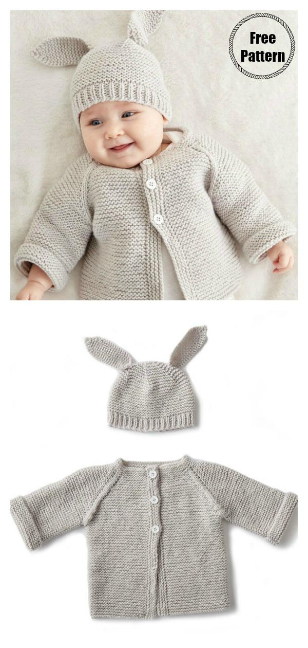 Garter Stitch Baby Jacket Set Free Knitting Pattern