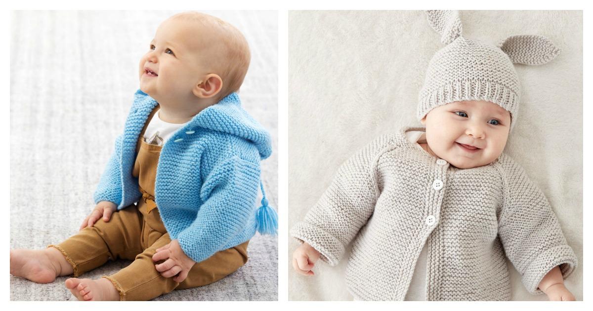 7 Garter Stitch Baby Sweater Free Knitting Pattern