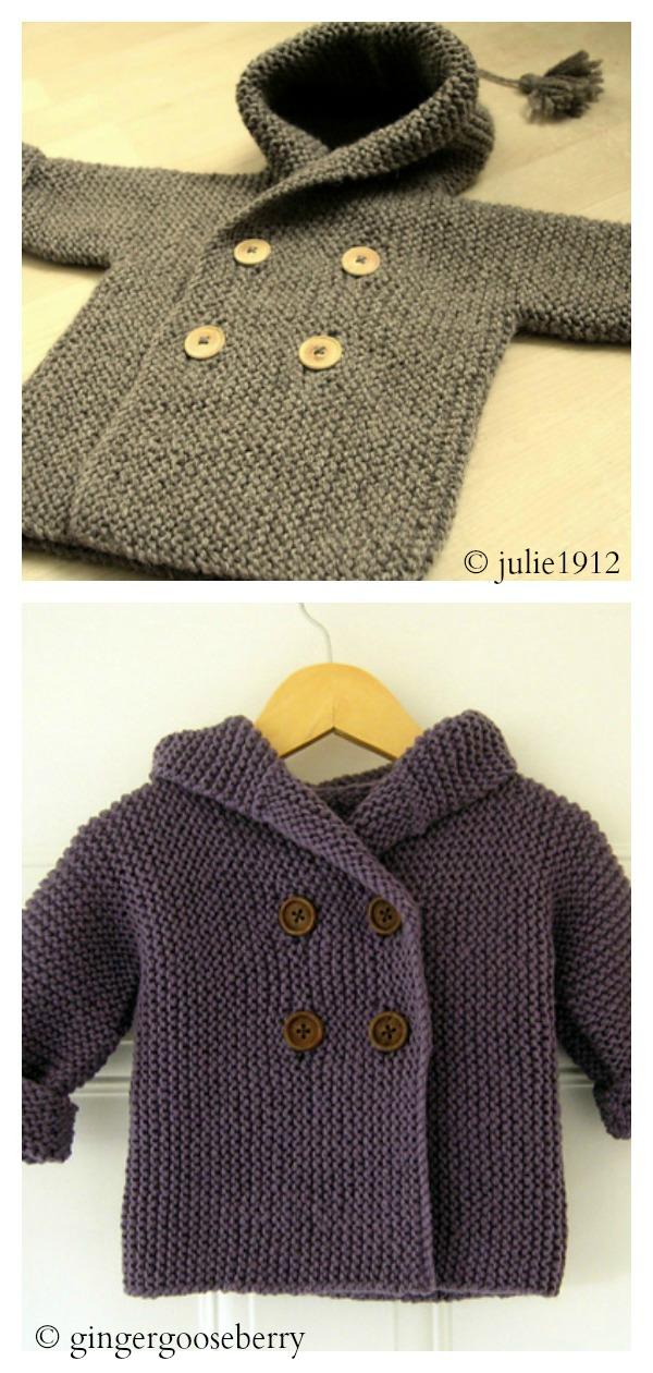 Garter Stitch Lino's Coat Free Knitting Pattern