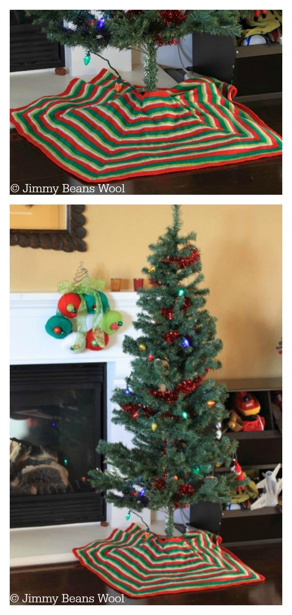 Mod Stripe Christmas Tree Skirt Free Knitting Pattern