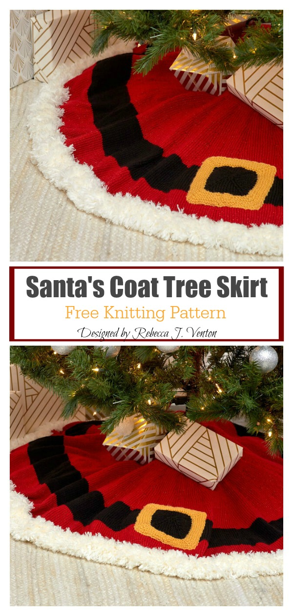 Santa's Coat Tree Skirt Free Knitting Pattern