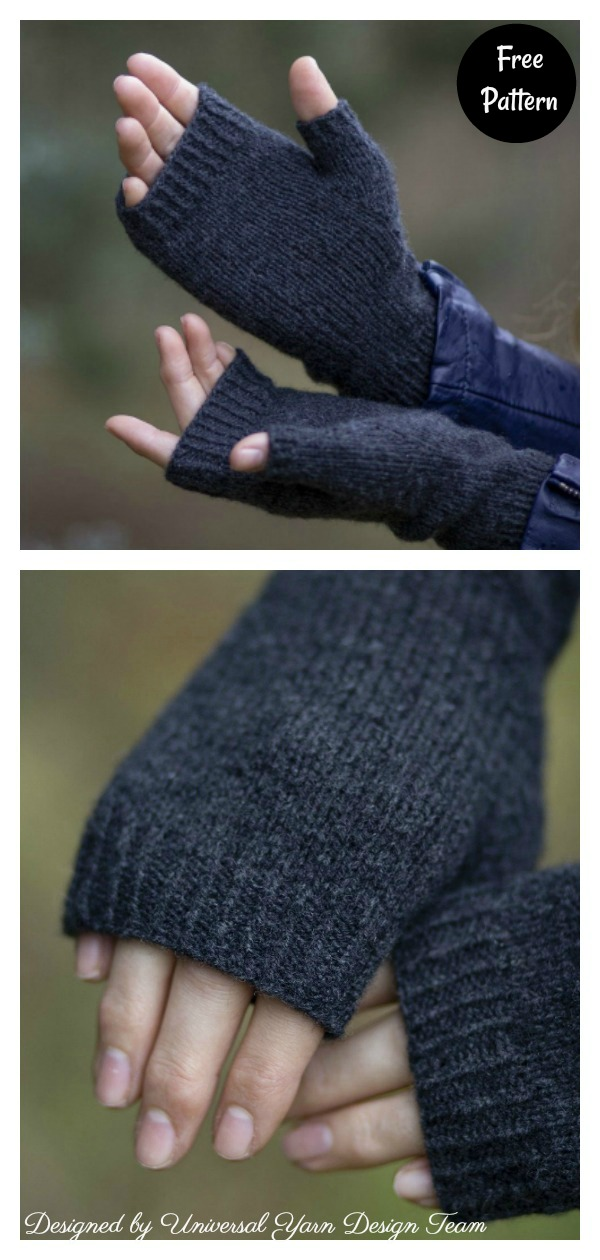 Simple Onyx Fingerless Mitts Free Knitting Pattern