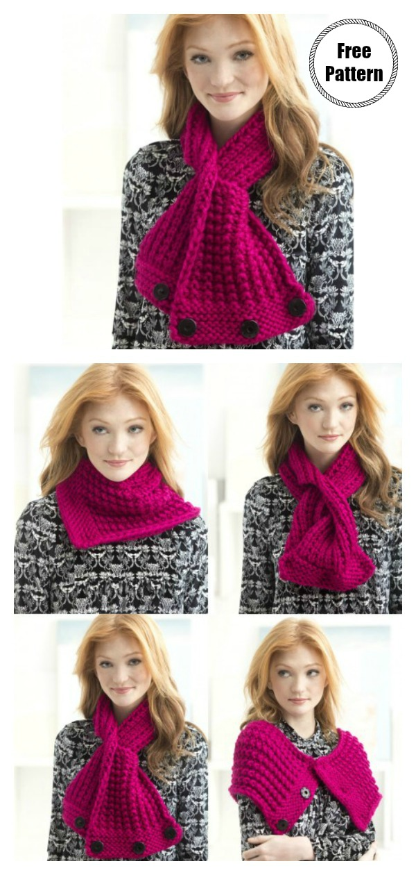 Snappy Slit Multi-Wear Scarf Free Knitting Pattern
