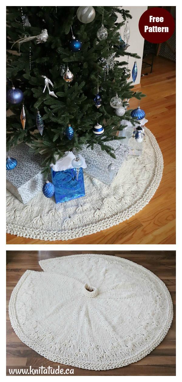 Snowbell Christmas Tree Skirt Free Knitting Pattern