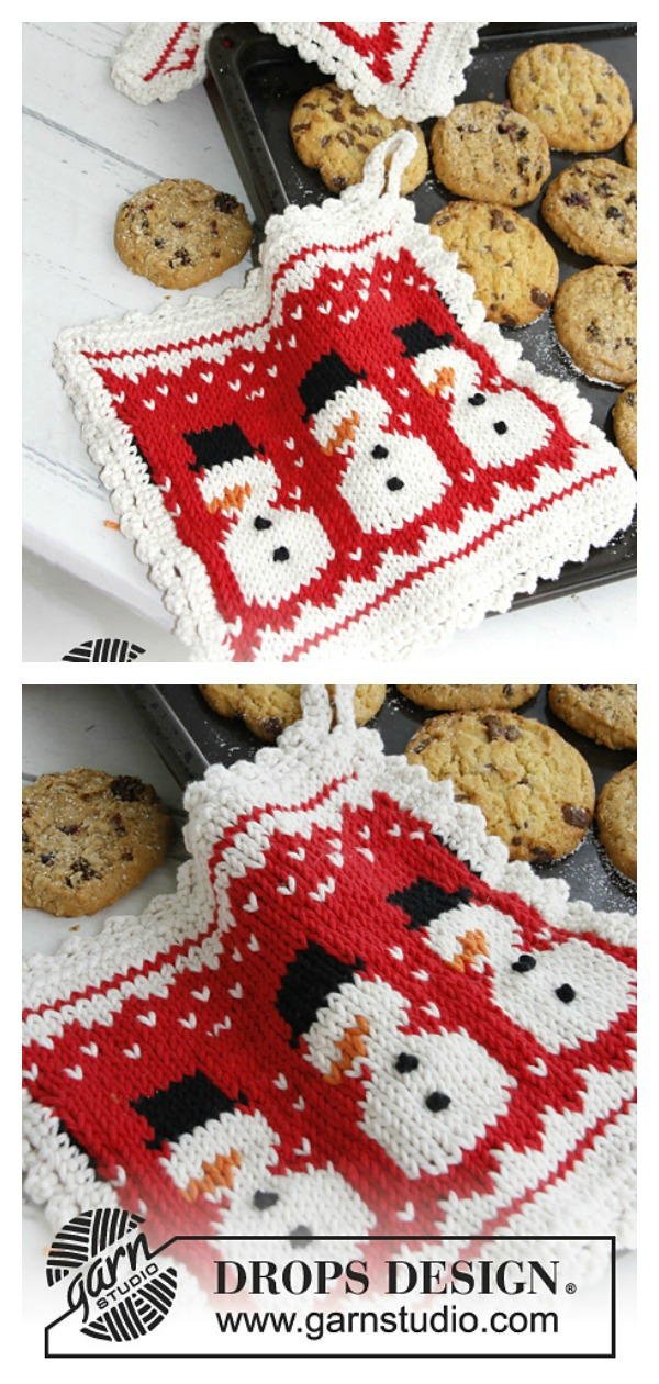 3 Little Snowmen Christmas Potholders Free Knitting Pattern