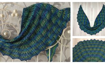 Brioche Stitch Peacock Shawl Free Knitting Pattern and Video Tutorial
