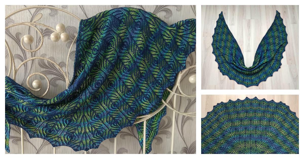Brioche Stitch Peacock Shawl Free Knitting Pattern and ...