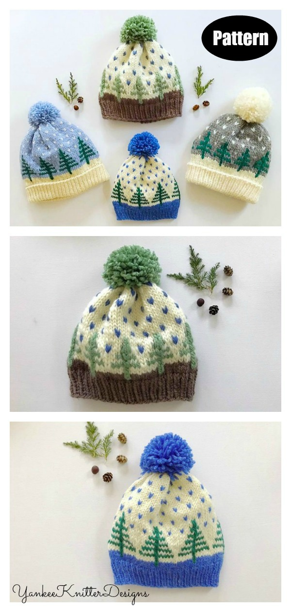 Bundle Pine Tree Hat Knitting Pattern