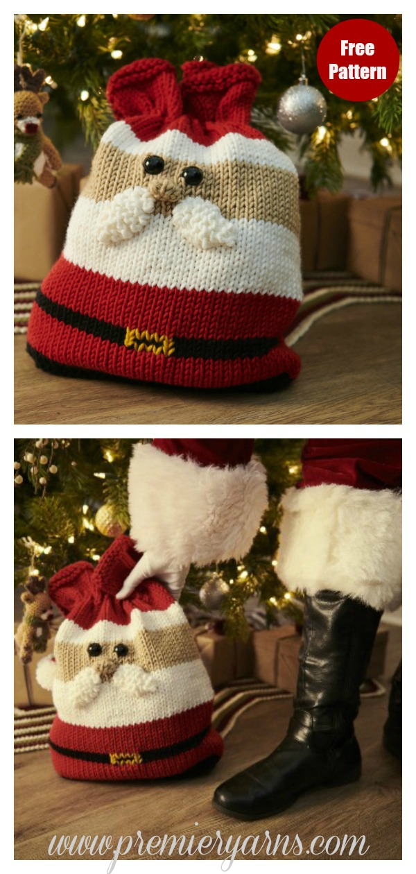 Christmas Gift Bag Free Knitting Pattern