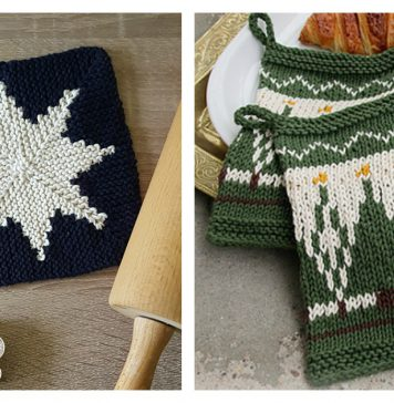 Christmas Potholders Free Knitting Pattern