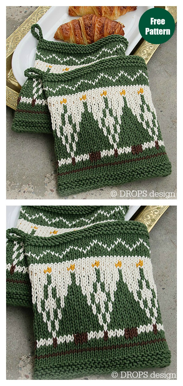 Christmas Potholders Free Knitting Pattern
