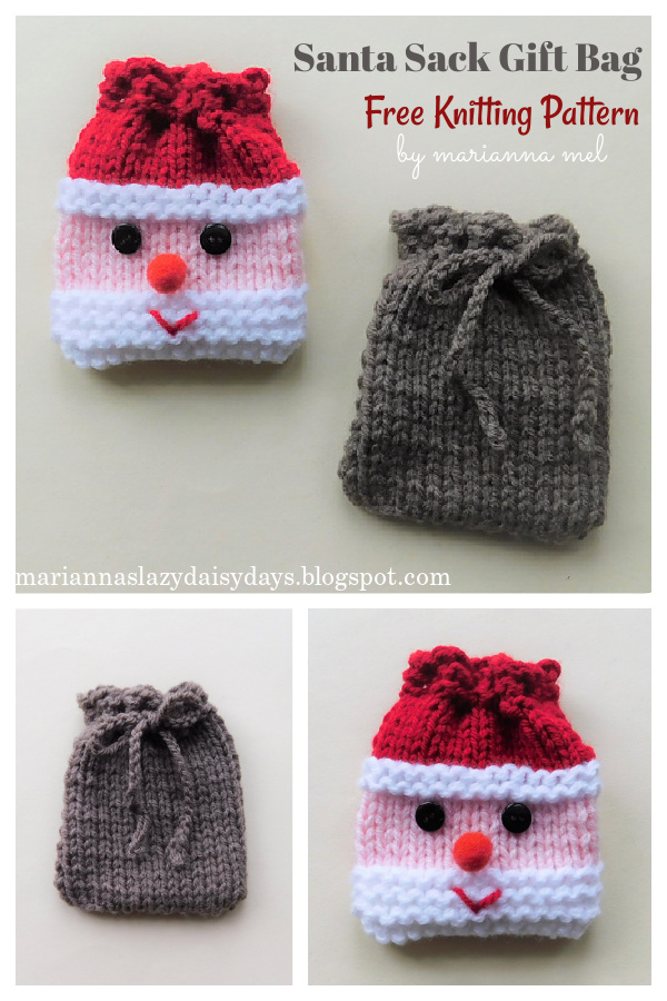Christmas Santa and His Sack Gift Bags Free Knitting Pattern