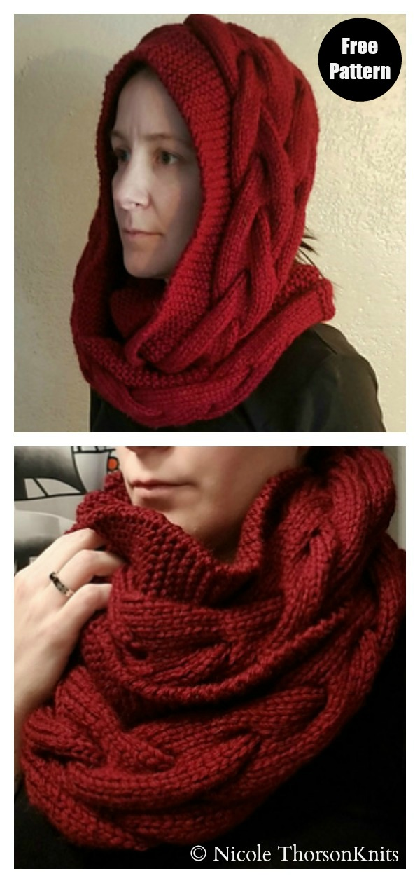 Chunky Braided Cable Cowl Free Knitting Pattern