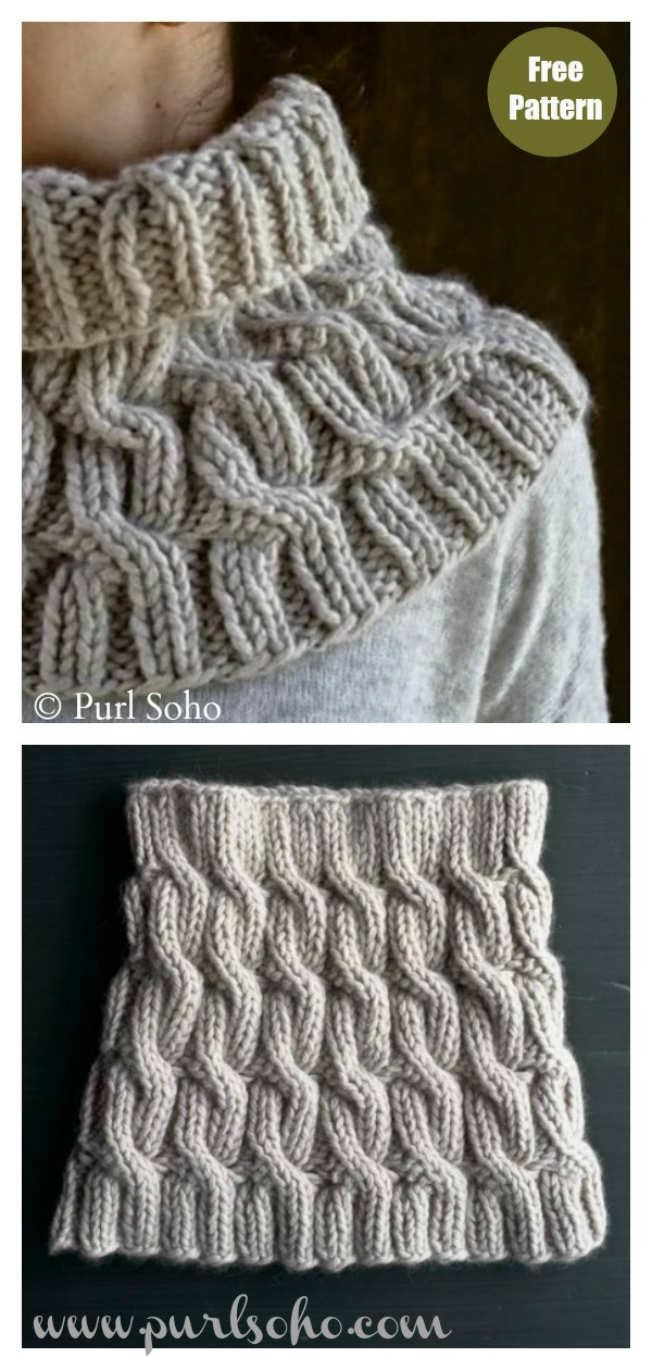 Chunky Cozy Cable Cowl Free Knitting Pattern