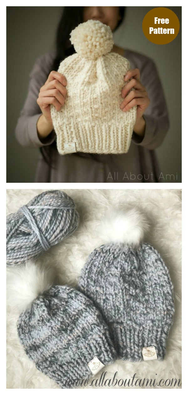 Chunky Dotty Beanies Free Knitting Pattern