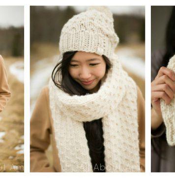 Chunky Dotty Beanies & Scarf Free Knitting Pattern