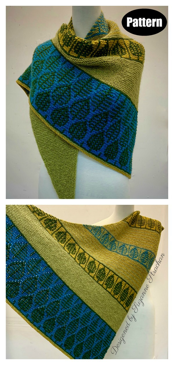 Cusp of Spring Mosaic Sideways Shawl Knitting Pattern