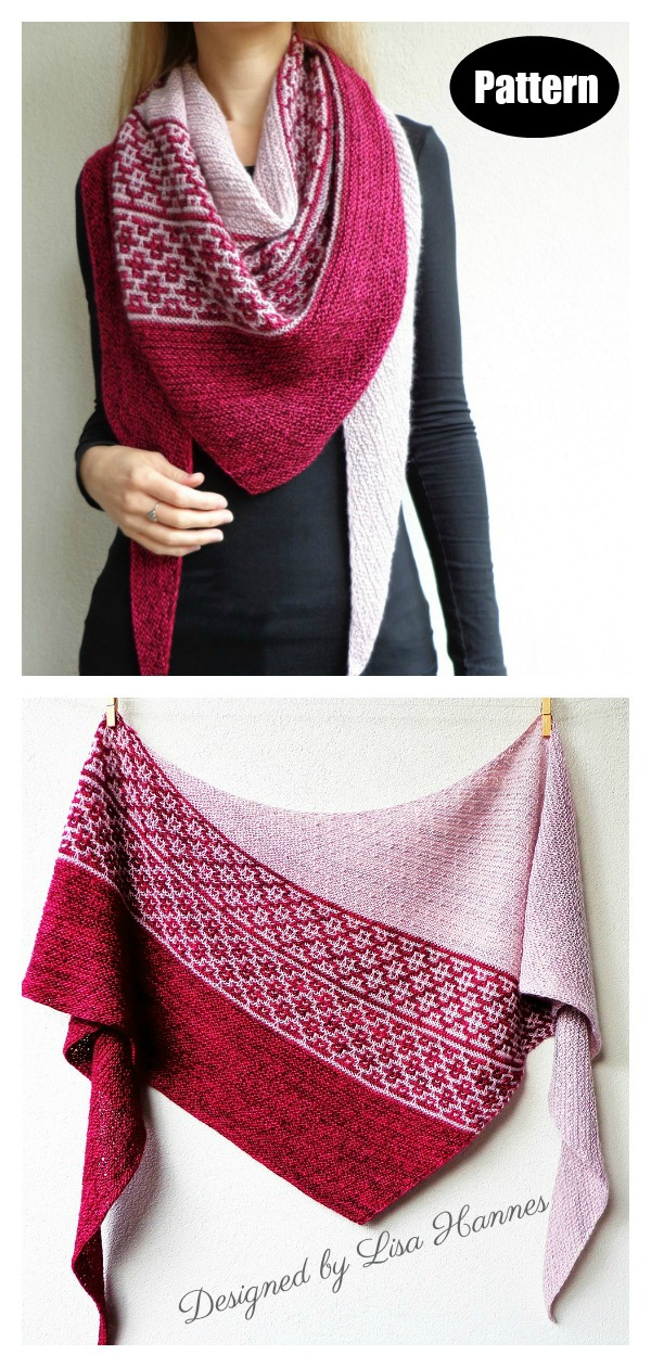 Emiliana Mosaic Sideways Shawl Knitting Pattern